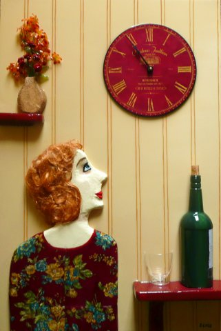 Wine O Clock - Acrylic, polystyrene, fabric, wig, cut painted plastic bottle and glass, painted artificial flowers, battery operated clock , resin glaze, on canvas. Sold - customised commissions welcome.