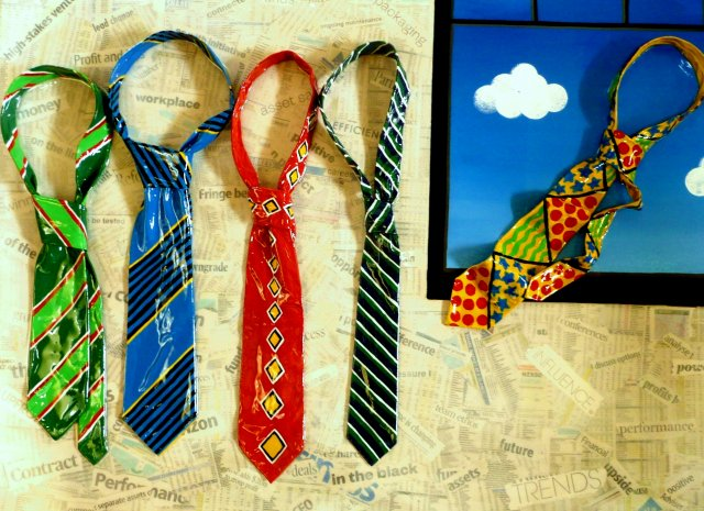 Bored Meeting - Acrylic, newspaper collage, moulded painted ties on canvas For Sale