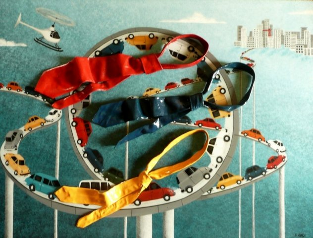 Rush Hour - Acrylic, moulded painted ties, resin coating For Sale