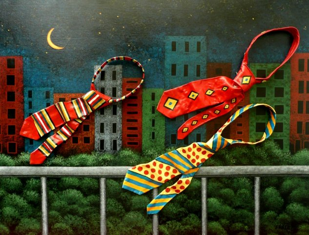 Homeward Bound - Acrylic, moulded painted ties on canvas. Winner of Mixed Media Category Royal Easter Show 2011.