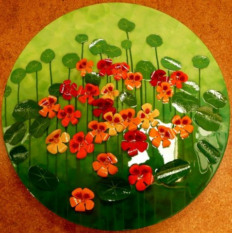 Nasturtiums - Acrylic, hand made flowers and leaves , resin on board Sold