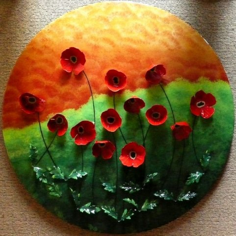Round Poppies - Acrylic, hand made flowers, resin on circular board Sold