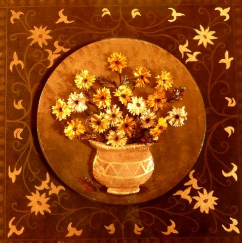 Daisies - Acrylic, painted artificial flowers, polystyrene, gold paint, gold leaf, resin on canvas For Sale