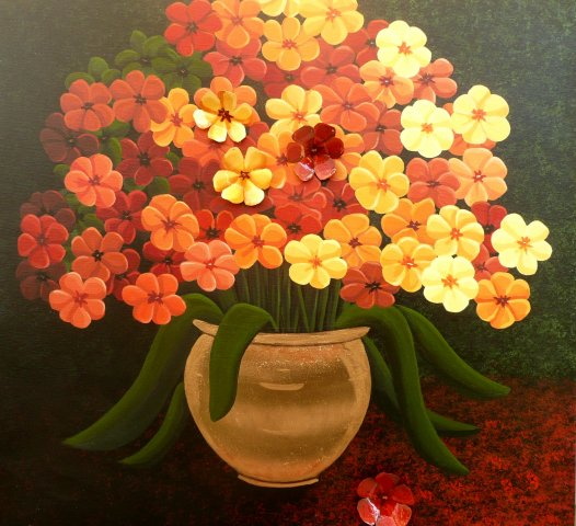 Flowers in Gold - Acrylic, hand made flowers, gold paint, gold leaf on canvas Sold