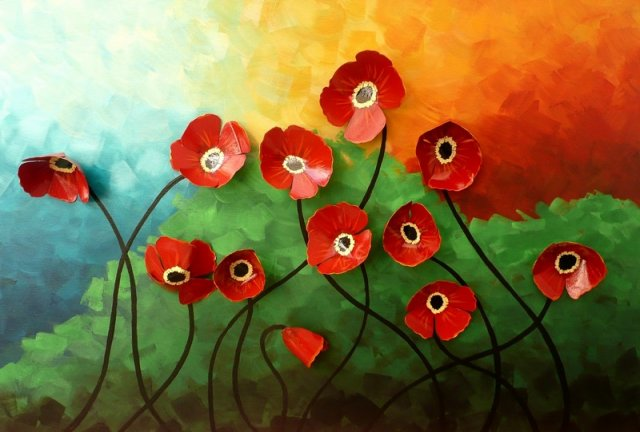 """Poppies - 24 """" x 36 """" Acrylic, hand made flowers , resin finish on canvas For Sale"""
