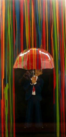Downpour - Acrylic, card , papier mache, resin on canvas . Sold