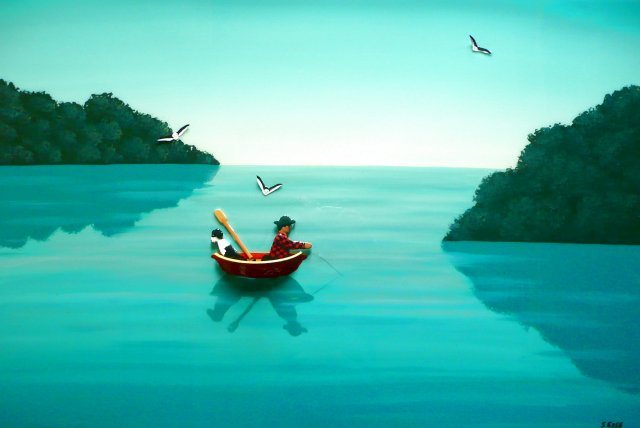 The Sea Was Like Glass - Acrylic, moulded boat, card, polystyrene, resin finish on canvas Sold