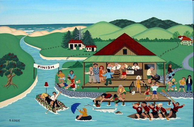Raft Race diptych lhs Sold